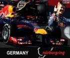 Sebastian Vettel celebrates his victory in the Grand Prix Germany 2013
