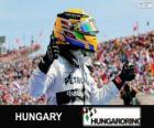 Lewis Hamilton celebrates his victory in the Hungarian Grand Prix 2013