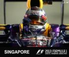 Sebastian Vettel celebrates his victory in the 2013 Singapore Grand Prix