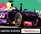 Sebastian Vettel celebrates his victory in the Grand Prix of United States 2013
