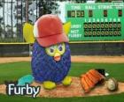 Furby plays baseball