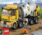 A concrete mixer truck and a construction worker, Lego City