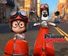 Mr. Peabody and Sherman on the motorcycle with sidecar
