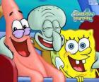 SpongeBob SquarePants and his friends Patrick Star and Squidward Tentacles