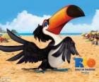 The peaceful and wise toucan Rafael, one of the protagonists of the film Rio