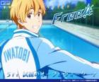 Nagisa with the tracksuit of Iwatobi Swimming Club