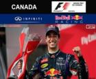Daniel Ricciardo celebrates his victory in the Grand Prix of Canada 2014
