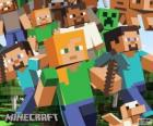 Several characters from Minecraft