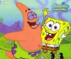 SpongeBob and Patrick very happy