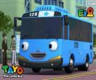 TAYO a cheerful and optimistic blue bus