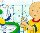 Caillou washes his hands