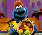 The Cookie Monster with one fruit basket