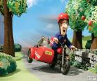 Postman Pat with his motorcycle