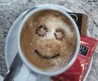 Smiling coffee with milk