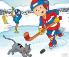 Caillou and Gilbert, hockey