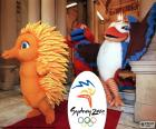 Logo and mascot of the Olympic Games of Sydney 2000, Olly, Syd and Millie, attended by 10651 athletes from 199 countries