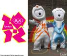 Logo and the mascots of the London 2012 Olympic Games, Wenlock and Mandeville, where participated 10568 athletes from 204 countries