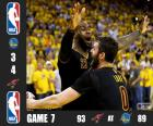 2016 NBA The Finals, Game 7, Cleveland Cavaliers 93 - Golden State Warriors 89. Cleveland Cavaliers Champions by 4-3