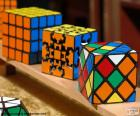 Various types of the Rubik's Cube a mechanical puzzle 3d invented in 1974 by Erno Rubik