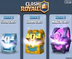 The three original chests in the game, silver, gold and magic, get them to win a battle and they will find letters