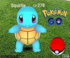 Pokémon Squirtle located on the verge of being caught by the Pokéball, Pokémon GO