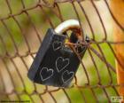 Padlock with hearts