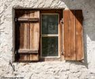 Window with shutters of wood