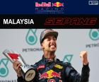 Daniel Ricciardo, celebrates her victory in the Malaysian Grand Prix 2016