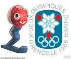 Logo and the mascot Schuss of the 1968 Winter Olympics, which was celebrated in Grenoble, France. Where participated 1158 athletes from 37 countries