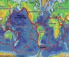 Map with 15 major tectonic plates of the Earth