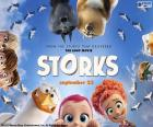 Logo original in English of Storks, an animated film about the legend of the storks and the babies