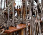 Ropes and pulleys of boat