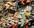 Maya wooden masks. They represent the faces of their gods and rulers