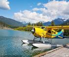 Seaplane biplane yellow