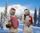 A pair of snowmen