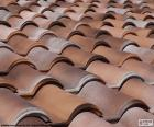 Sloping roof of ceramic roof tiles