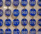 Panel with blue plates numbered and sorted by numbers