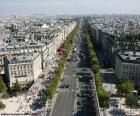 Avenue of the Champs Elysees, seen from the Arc de Triomphe, the main avenue of Paris. It measures 1.910 meters in length, and runs from the Arc de Triomphe to the place de la Concorde