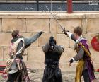 Three knights fighting
