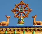 The wheel of dharma, dharmachakra, is a symbol of Buddhism