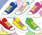 Colored athletic shoes