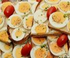A delicious toast hard-boiled egg with tomato