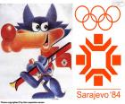 Logo and mascot Vučko in the Sarajevo 1984 Winter Olympics, Yugoslavia. With the participation of 1272 athletes from 49 countries