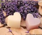 Two hearts with lavender