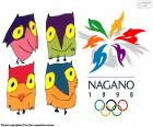 Logo and mascots Sukki, Nokki, Lekki and Tsukki of the Olympic Games of Nagano 1998, Japan. Attended by 2176 athletes from 72 countries