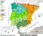 Map of rivers in Spain