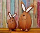 Figures of Easter rabbits