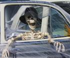 Skeleton inside a car, Halloween