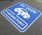 Sign painted on the asphalt, indicating a point charge electric cars