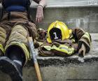 Firefighter resting
